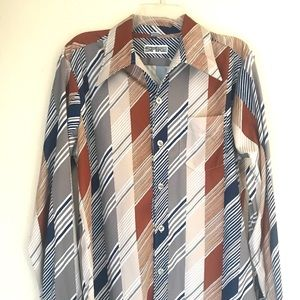 Vintage 70s SPIRE Men's Shirt Size L Striped DISCO